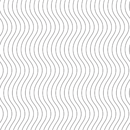 Monochrome elegant seamless pattern in black and white. Vertical wavy lines.