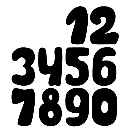 arabic numeral: Arabic numerals. Numbers set. Collection of doodle numbers. Vector illustration can be used for web design, booklets, print cards, textile t-shirts, print elements and other.