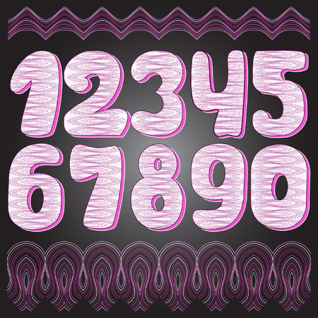 arabic numerals: Arabic numerals. Numbers set. Collection of doodle numbers. Vector illustration can be used for web design, booklets, print cards, textile t-shirts, print elements and other.