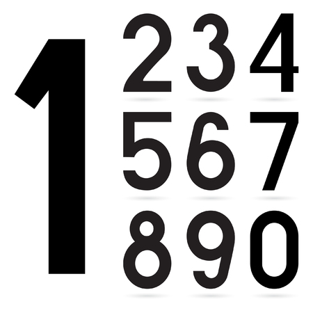 0 9: Number from 0 to 9 over white background. Arabic numerals. Isolated on white background. Vector Illustration