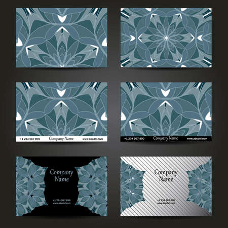 creation of sites: Set of designs for business cards. 6 colorful business card template. Vector vintage visiting card set. Floral mandala pattern and ornaments. Front page and back page.