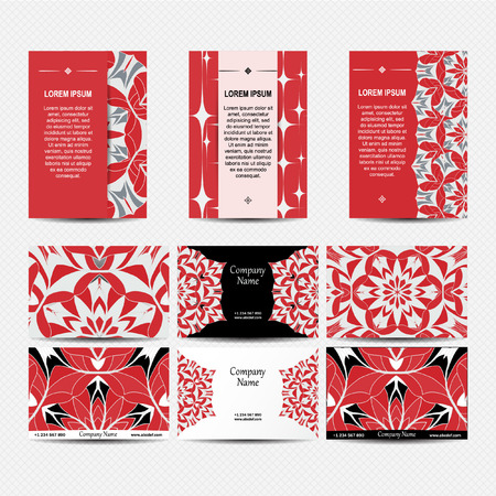 creation of sites: Set of designs for business cards and booklets. 6 colorful business card template and 3 booklet template . Vector vintage visiting card set. Floral mandala pattern and ornaments. Illustration