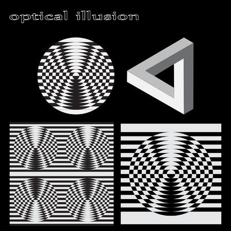 illusion: Optical illusion, abstract geometric design element. Printoptical illusion symbols, Impossible sign, vector. Set