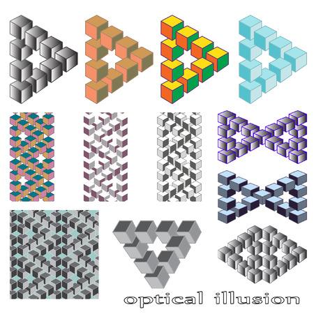 sensory perception: Optical illusion, abstract geometric design element. Printoptical illusion symbols, Impossible sign. A set of 12 vector design Illustration