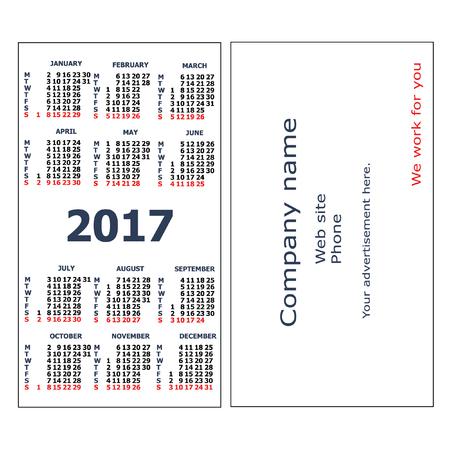 2017 Pocket Calendar Template Calendar Grid Vertical Orientation