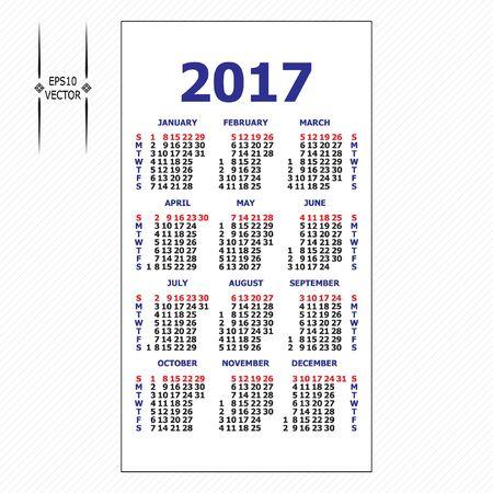 orientation: 2017 pocket calendar. Template calendar grid. Vertical orientation of days of week. Illustration in vector format.