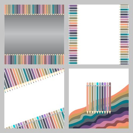Varicolored color pencils set isolated on white background. Office supplies. Abstract background line of colour pencil illustration. Set.