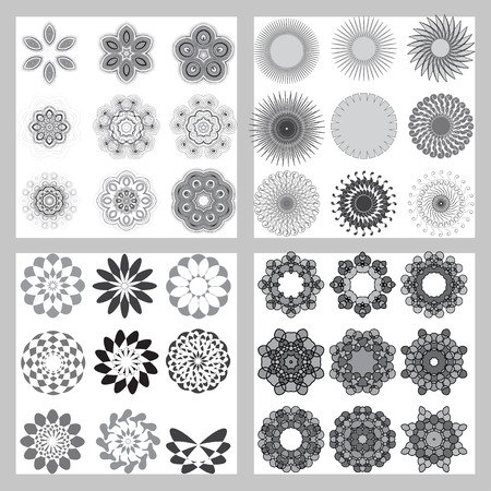 asterisks: Simple geometric ornaments, set of 36 circular patterns - vector illustration. Decorative design elements. Set of vector circular patterns, florets, snowflakes, asterisks for decoration of your works.