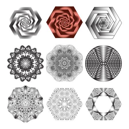metaphorical: Mandala, circular pattern. A round pattern pattern for your designs. Vector round pattern. Set, Illustration