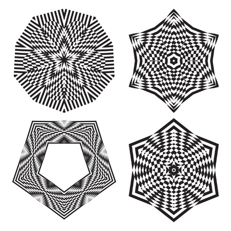 trickery: The circular pattern - vector design elements. Vector graphic elements for design. Geometric fashion pattern. Vector star, snowflake, round pattern. Mandala. A set of four elements