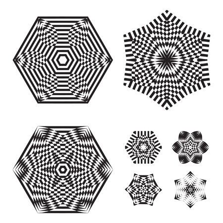 trickery: The circular pattern - vector design elements. Vector graphic elements for design. Geometric fashion pattern. Vector star, snowflake, round pattern. Mandala. A set of 7 elements
