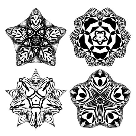 four elements: The circular pattern - vector design elements. Vector graphic elements for design. Geometric fashion pattern. Vector star, snowflake, round pattern. Mandala. A set of four elements
