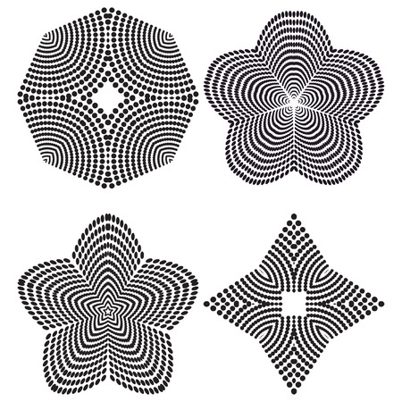 trickery: The circular pattern - vector design elements. Vector graphic elements for design. Geometric fashion pattern. Vector star, snowflake, round pattern. A set of four elements