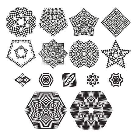 trickery: The circular pattern - vector design elements. Vector graphic elements for design. Geometric fashion pattern. Vector star, snowflake, round pattern. A set of 15 elements