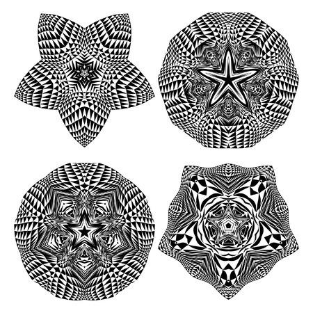 nodules: Mandala, circular pattern. A round pattern pattern for your designs. Vector abstract black and white round pattern. A set of 4 items