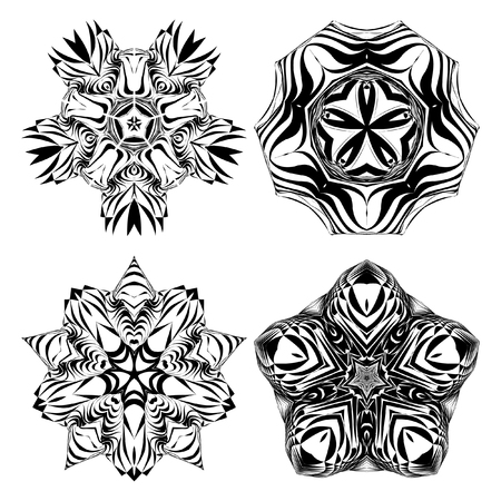 metaphorical: Mandala, circular pattern. A round pattern pattern for your designs. Vector abstract black and white round pattern. A set of 4 items