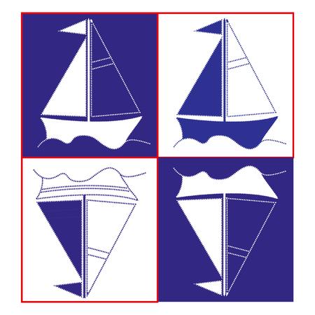 whiteblue: White-Blue toy sailboat. Stylized ship, three colors - blue, white, red, vector illustration