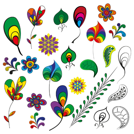 graphic elements: Vector elements for graphic works - leaves, flowers, branches, decoration.. Decorative items for decoration works.