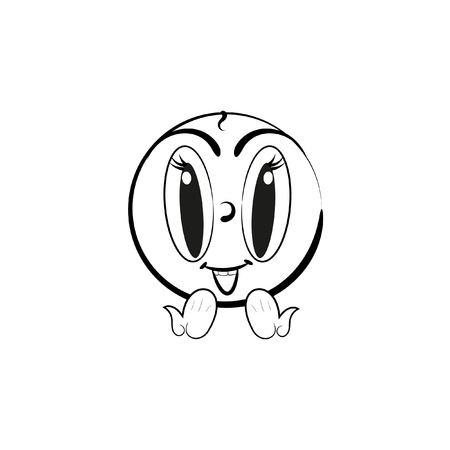 lively: Lively smiley vector. Smiling emoticon. Black-white illustration of a Smiley Illustration