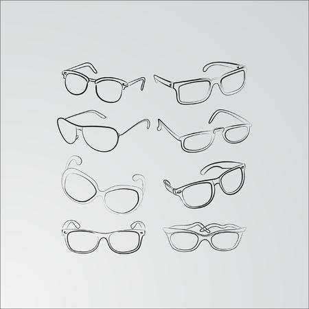ocular: Set of custom glasses isolated. Vector illustration. Glasses model icons, man, women frames. Different shapes, frame, styles Illustration