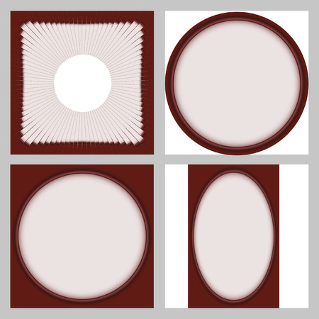 interesting: Round vector frame. Interesting frame with a white backing for photos or text. The vector image. Set of 4 elements.