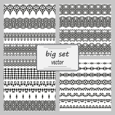 decorative pattern: Vector line border set and scribble design element. Geometric fashion pattern. A set of decorative items to decorate your work. Vector design elements. Set of vector graphic elements for design.