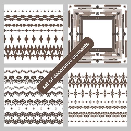 blanks: Vector blanks for frames, graphic design elements - page divider line set. Vector art brushes. Pattern border pack. Illustration