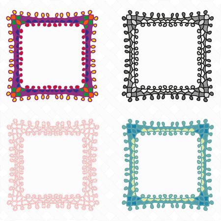 openwork: Openwork stylish gentle vector frame for decoration of your works. Ornate frame vector set. Illustration