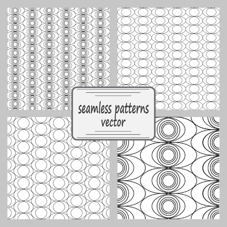 periphery: Mathematical monochrome black and white vector pattern. Vector monochrome geometric ornaments for wallpaper, pattern fills, web page background, surface textures. A set of 4 patterns.