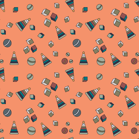 gift wrapping: Seamless pattern. Childrens pattern of cubes, balls and pyramids. Pattern for childrens fabrics, paper, gift wrapping. Illustration
