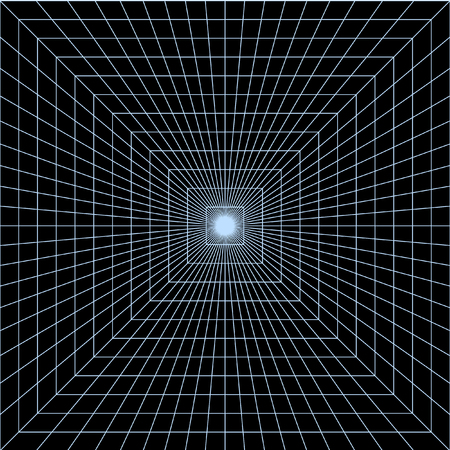 converge: Endless digital well. Perspective Grid. Thin lines, which converge in the center of the square. Illustration