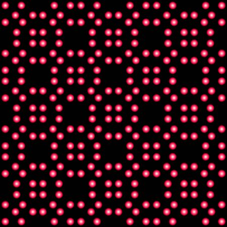 planted: Seamless geometric pattern in bright pink beads on a black background Illustration