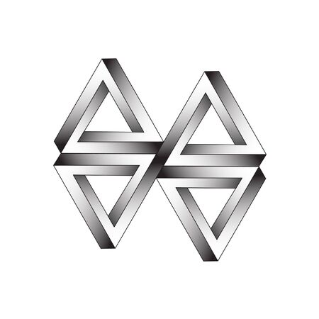 escher: Triangle optical illusion of the gradient vector, abstract geometric design element. Illustration