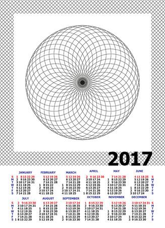 Calendar for 2017 on white background. Illustration