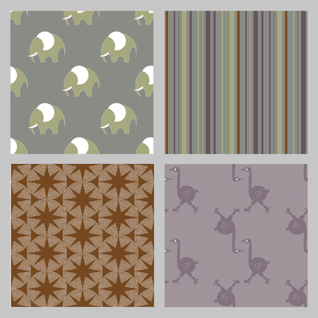 Seamless retro  elephants pattern. Illustration