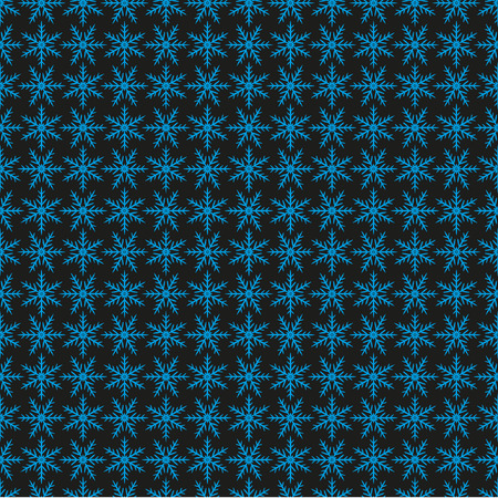 ordered: Winter pattern of blue snowflakes on a black background. Stylized ordered snow, snowflakes. Seamless pattern. Vector.