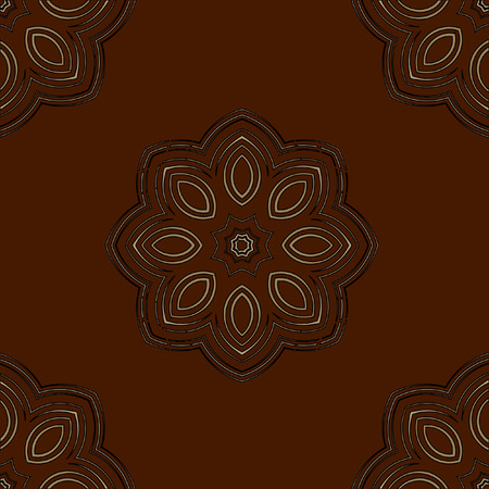 wrapper: Vector seamless monochrome flower pattern. Flowers from spiral elements. A background rich with a retro for a wrapper, walls, backgrounds.