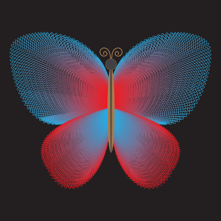 blends: Decorative stylized butterfly on black background for your design. Beautiful soft colorful butterfly of fine lines, blends
