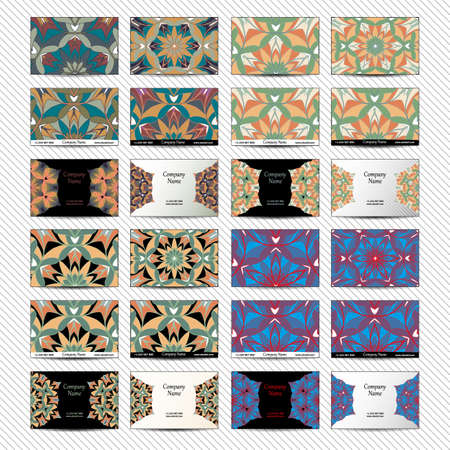 creation of sites: Set of designs for business cards. 24 colorful business card template. Vector vintage visiting card set. Floral mandala pattern and ornaments. Front page and back page. Illustration