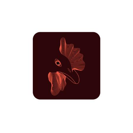 cockscomb: Rooster - 2017 emblem. Vector icon. Rooster, cock, chicken vector illustration. design. Emblem, symbol.