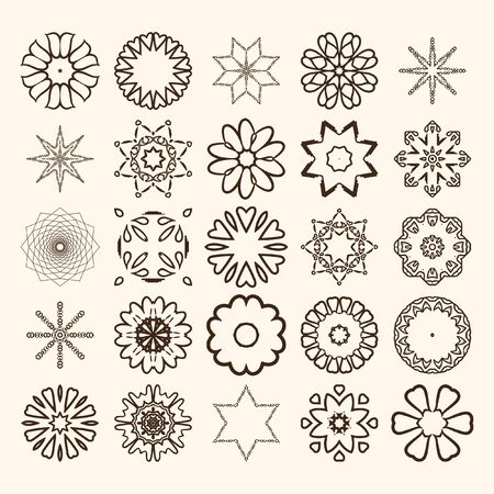 asterisks: Decorative design elements. Circle ornament. Set of vector circular patterns, florets, snowflakes, asterisks for decoration of your works.