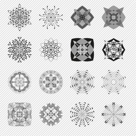 decorative items: Decorative items to decorate your work. Vector graphic elements for design. Geometric fashion pattern. Vector mandala. The circular pattern. Set of 16 elements Illustration