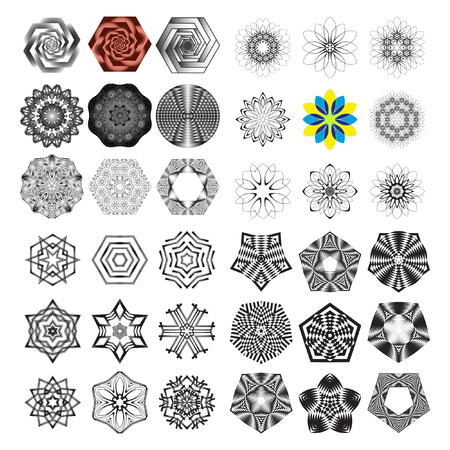 trickery: The circular pattern - vector design elements. Vector graphic elements for design. Geometric fashion pattern. Vector star, snowflake, round pattern. Mandala. A set of 36 elements Illustration