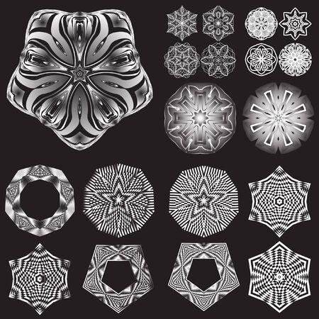 decorative items: Decorative items to decorate your work. Vector design elements. Vector graphic elements for design. Geometric fashion pattern. Vector mandala. Set of 19 circular patterns