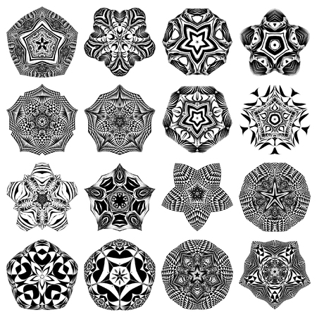 metaphorical: Mandala, circular pattern. A round pattern for your designs. Vector abstract black and white round pattern. A set of 4 items