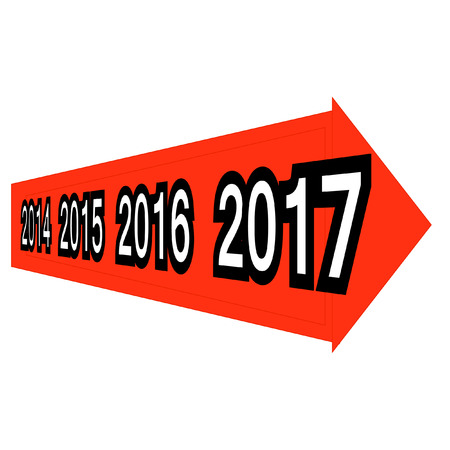 year increase: Conceptual 2014-2015-2016-2017 year symbol with arrow on white background for success, growth, graph, future, finance, financial, new year, holiday, increase, rise, date, career Illustration