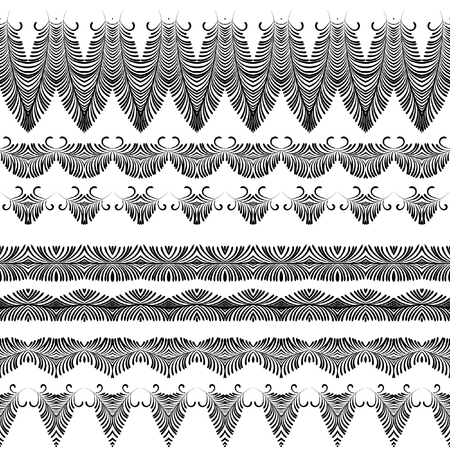 tibet: Vector pattern of hand drawn elements. Vector art brushes. Pattern border pack. Set vector element for your design