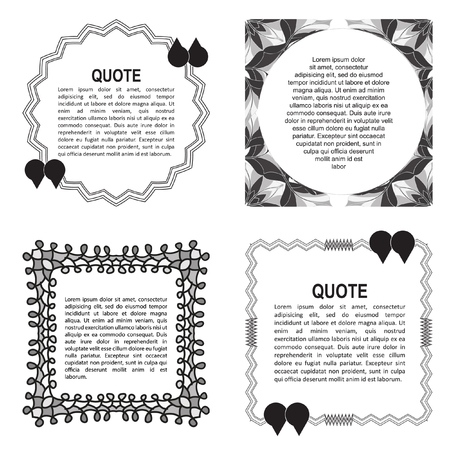 cite: Quote form, paper sheet, information or text. Empty template, vector set. Quote blank template. Illustration