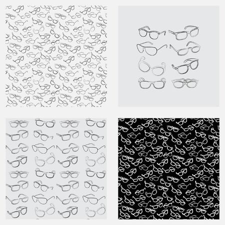 fashion glasses: Eyeglasses. Seamless pattern. Mens Glasses, womens glasses, sunglasses. Set