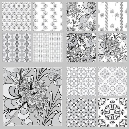 Floral print. Vector seamless floral pattern. To decorate paper, fabric or wallpaper in retro style. A set patterns in black and white monochrome colors,